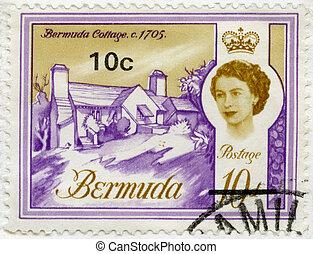BERMUDA - 1962: shows Bermuda Cottage, 1705