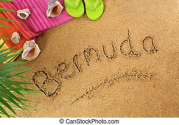 Bermuda beach background with palm leaves, towel and flip flops.