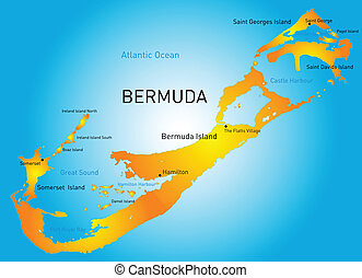 Vector Clip Art Of Bermuda Island Bermuda Islands Editable - Bermuda islands map