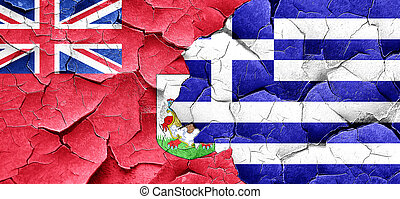 bermuda flag with Greece flag on a grunge cracked wall