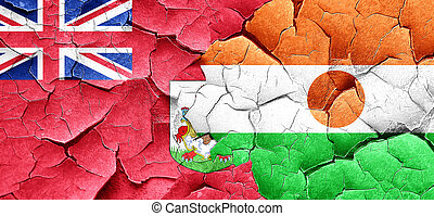bermuda flag with Niger flag on a grunge cracked wall