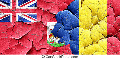 bermuda flag with Romania flag on a grunge cracked wall