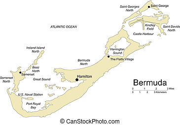 Bermuda Islands, editable vector map broken down by administrative districts includes surrounding countries, in color with cities, district names and capitals, all objects editable. Great for building sales and marketing territory maps, illustrations, web graphics and graphic design.