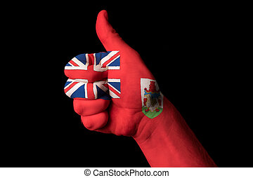 bermuda national flag thumb up gesture for excellence and achiev