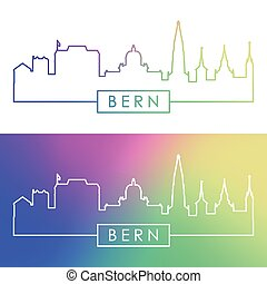 Bern skyline. Colorful linear style.