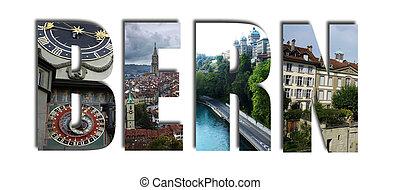 Bern Switzerland collage on white