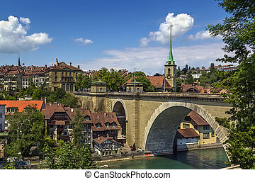 Bern, Switzerland - view of Bern old town and bridge over...
