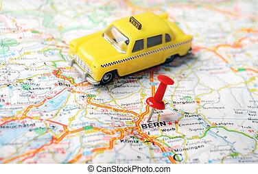 berne, carte, taxi