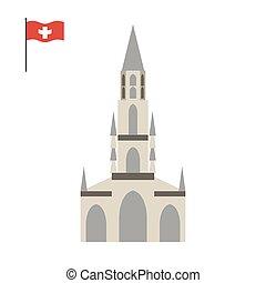 Berne Cathedral. landmark of Switze