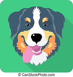 bernese Mountain Dog dog icon flat design - head dog Bernese...