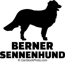 Bernese mountain silhouette with german breed name