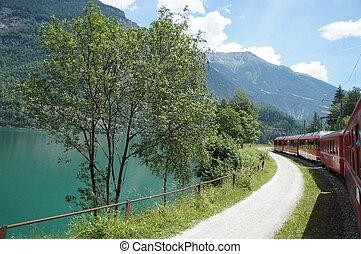 Bernina Express at a lake