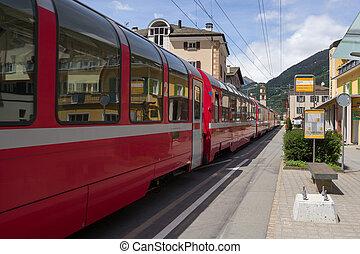Bernina Express - Swiss mountain train Bernina Express in...