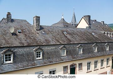 bernkastel, toits, ardoise, historique, allemagne