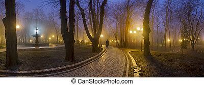 beroemd, park, mariinsky, footpath