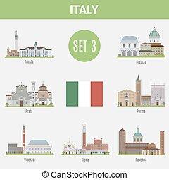beroemd, plaatsen, italië, cities., set, 3