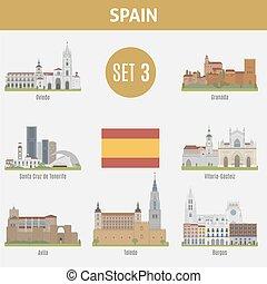 beroemd, plaatsen, spanje, cities., set, 3