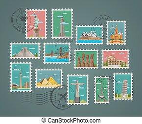 beroemd, postzegels, compositions, architecturaal