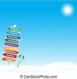 beroemd, ski reis, illustratie, bestemmingen