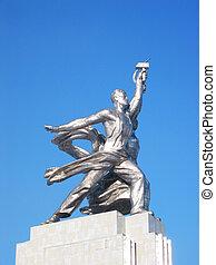 beroemd, sovjet, monument, van, de, arbeider, en,...