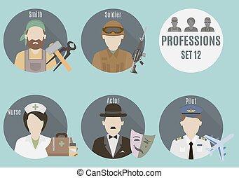 beroep, mensen., 12, set