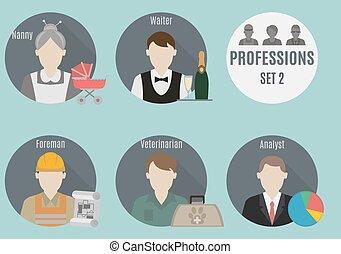 beroep, mensen., 2, set