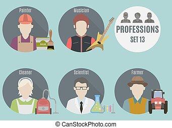 beroep, mensen., set, 13