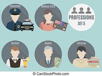 beroep, mensen., set, 5