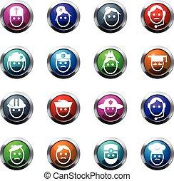 beroep, set, iconen