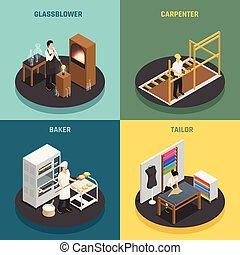 beroepen, conceptontwikkeling, ambachtsman, 2x2