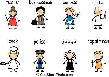 beroepen, gevarieerd, mensen