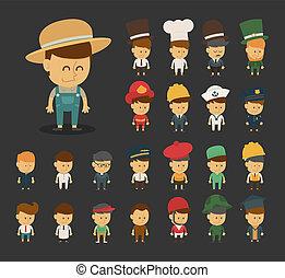 beroepen, groep, spotprent, karakters