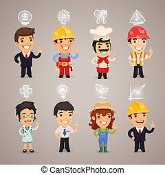 beroepen, karakters, iconen