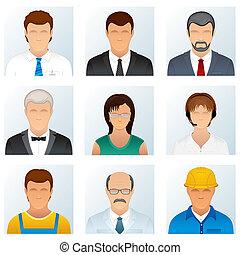 beroepen, mensen, verzameling, iconen