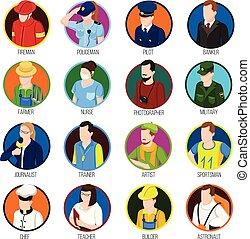 beroepen, set, avatar, pictogram