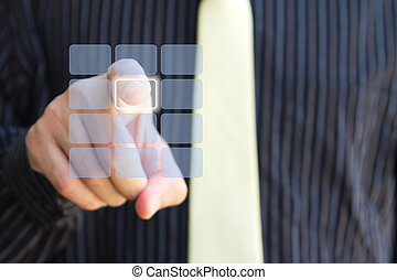 beroeren, duidelijk, scherm, toetsenpaneel, hand