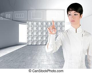 beroeren, futuristisch, vrouw, vinger, copyspace