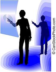 beroeren, gebruik, scherm, vrouw zaak
