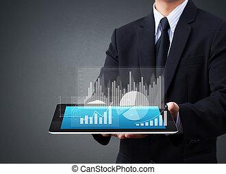 beroeren, grafiek, scherm, tablet
