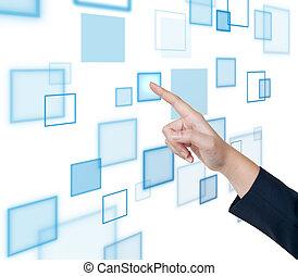 beroeren, interface, voortvarend, scherm, hand, knoop