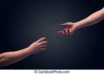 beroeren, over, hand, een ander, een
