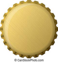 berretto, dorato, bottiglia, illustrazione