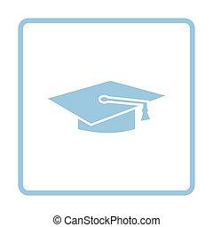 berretto, graduazione, icona