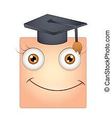 berretto, graduazione, smiley, felice