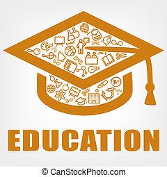 berretto, icona, graduazione