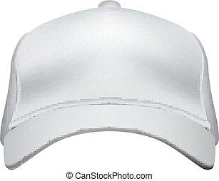 berretto, isolato, vettore, baseball, fondo, bianco