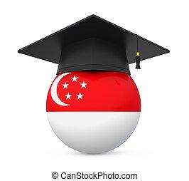 berretto laurea, con, bandiera singapore
