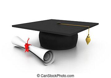 berretto laurea, con, diploma