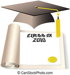 berretto laurea, e, diploma, copyspace, per, classe, di, 2010