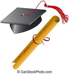 berretto laurea, e, diploma, set